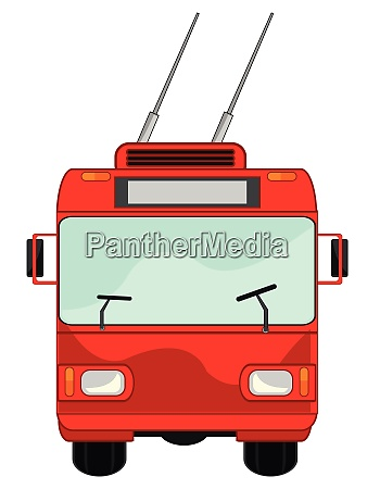 trolleybus typ frontal auf weissem hintergrund