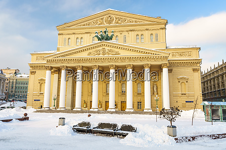 bolshoi theatre in moscow at winter