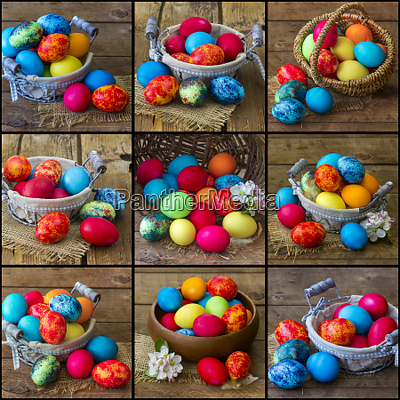 ostercollage bilder mit bemalten eiern