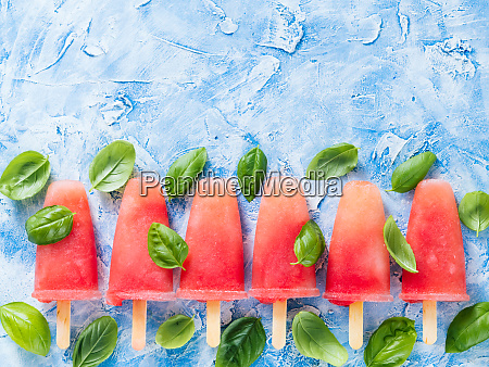top view of watermelon and basil