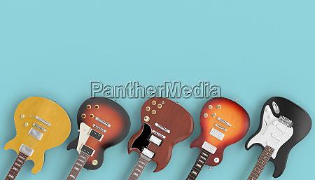 sammlung von gitarren auf blauem hintergrund