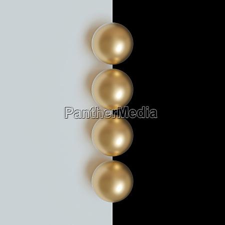 3d bild rendering von goldkugeln auf