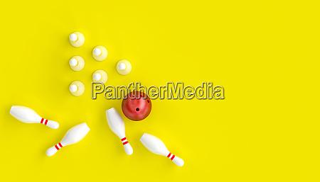 3d renderbild mit bowling ball und