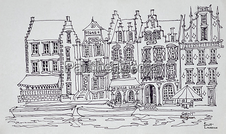 flemish architecture along the waterfront ghent