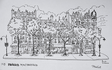 restaurants and apartments line boulevard montparnasse