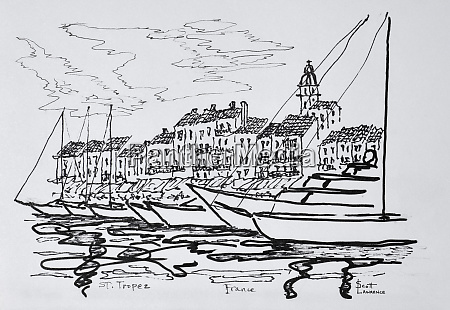 moored boats in the harbor saint