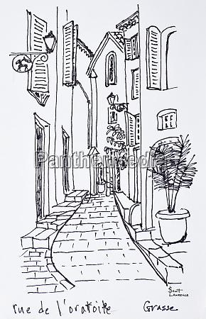 view along rue de loratoire grasse