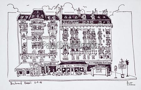 haussmann style shops along boulevard raspail