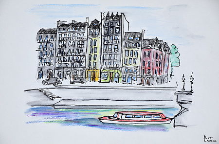 bateaux mouche boat travels along the