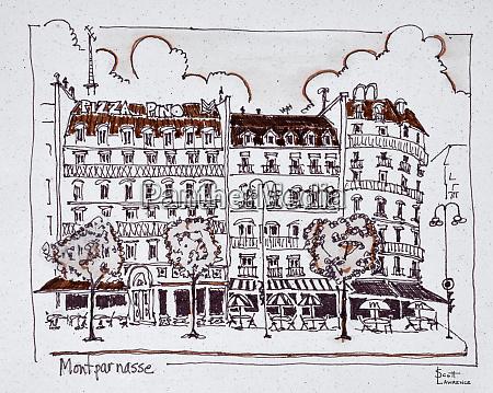 typical haussmann architecture along boulevard montparnasse