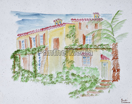watercolor of a typical french home