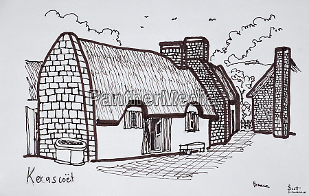 thatched houses kerascoet brittany france