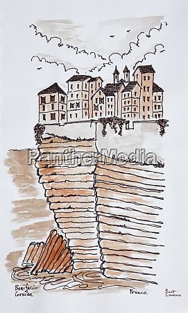 cliffside city of bonifacio corsica france