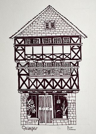 ein altes fachwerkhaus im normannischen stil