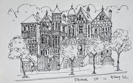 victorian architecture along steiner street san