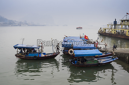 vietnam halong city harbor boat traffic
