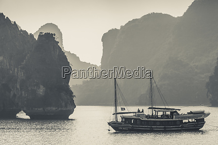 vietnam halong bay boat traffic