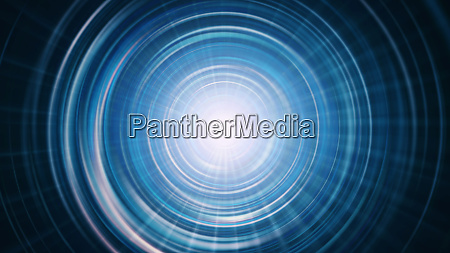futuristic blue tunnel background with rays