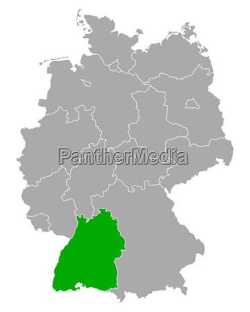 karte von baden wuerttemberg in deutschland