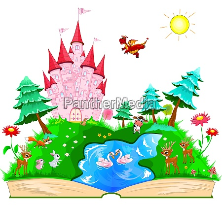 book with a pink castle and