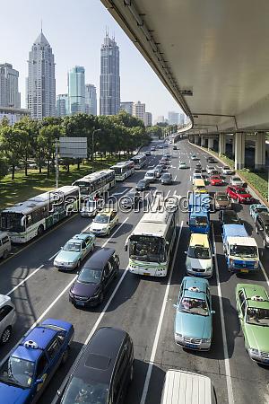 china shanghai morning traffic jam along