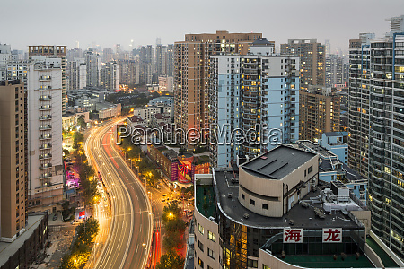 china shanghai traffic lights blur along