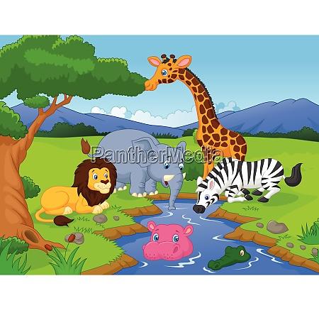 suesse afrikanische safari tier cartoon figuren