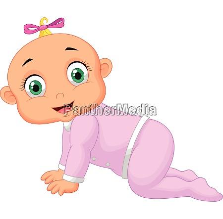 crawling girl cute