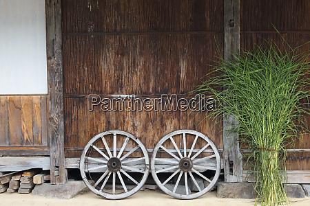 wheel with gassho zukuri house ainokura