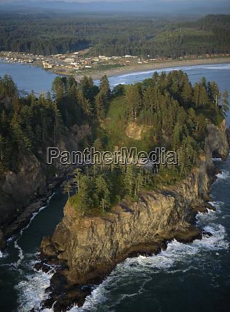 usa washington coastline aerial of james