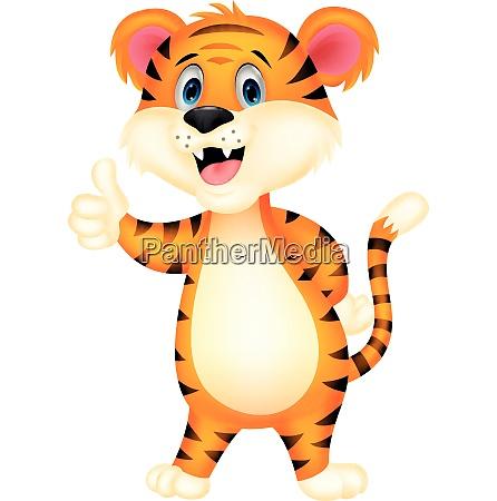 suesse tiger cartoon geben daumen nach