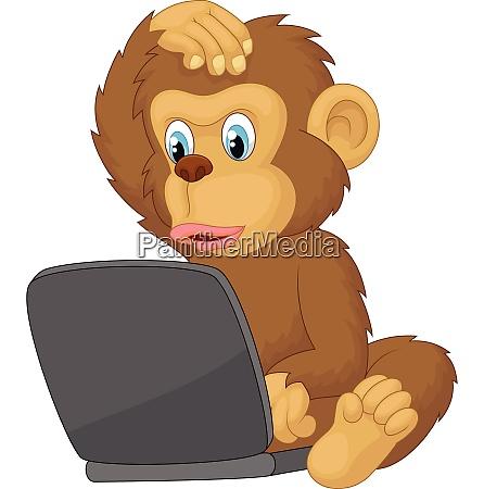 cartoon monkey operating laptop