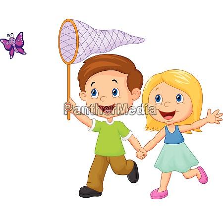 cartoon kids catching a butterfly