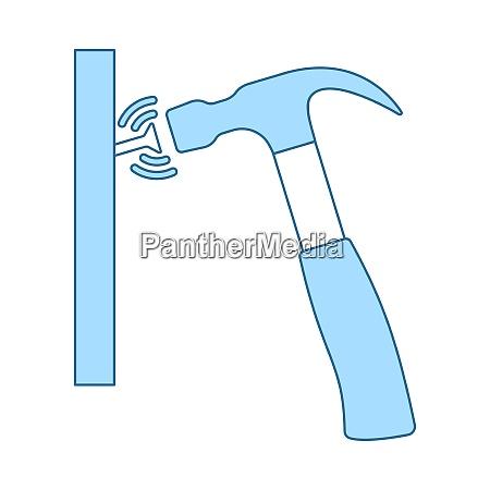 ikone des hammerschlagens zu nagel duenne