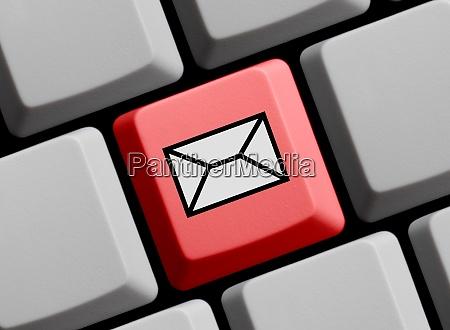 kontakt oder newsletter symbol auf roter
