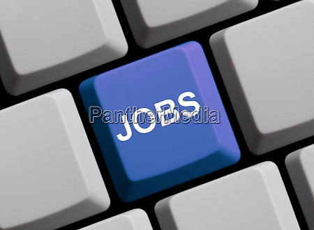jobs auf der blauen computertastatur