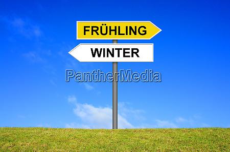 wegweiser zeigt fruehling und winter in