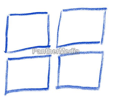 handgezeichnete rechtecke mit blauer farbe