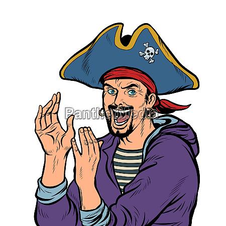 applaus ein mann piraten karnevalskostuem mit