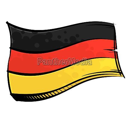 bemalte deutschlandflagge weht im wind