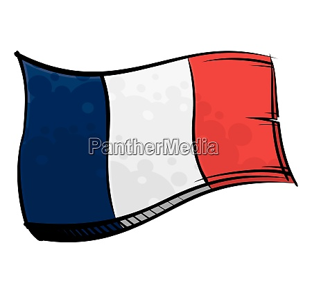painted france flag waving in wind