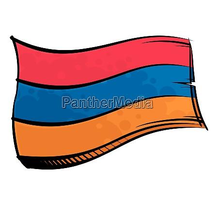 bemalte armenien flagge weht im wind
