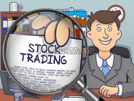 aktienhandel durch lupe doodle stil