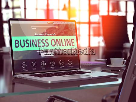 business online konzept auf laptop bildschirm