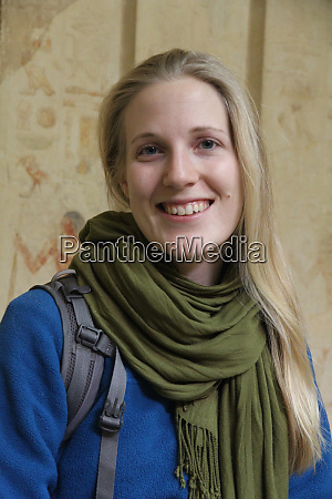 female tourist visiting ancient egyptian sites