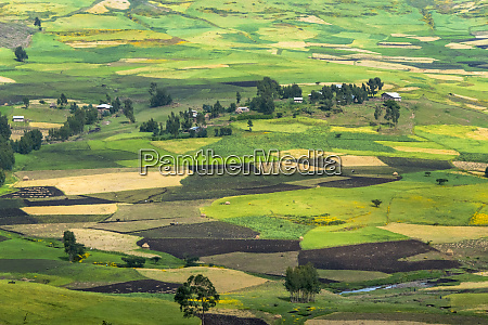 village house and farmland in the