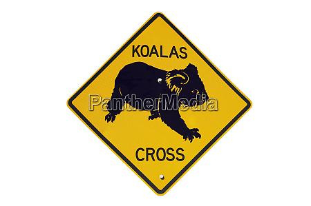 koala crossing warning sign australia