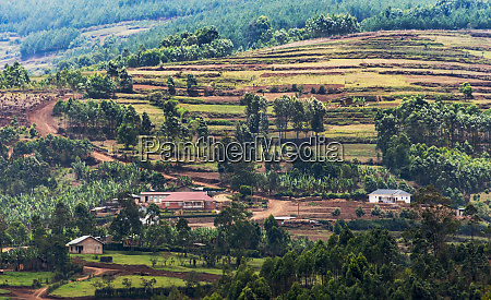 village and farmland in the mountain