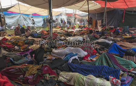 pilgrims sleeping in the tent area