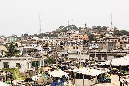 afrika westafrika ghana kapkueste elmina blick